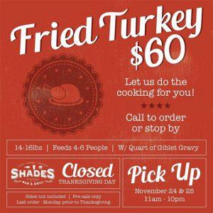 Shades Bar & Grill Thanksgiving Turkey Special