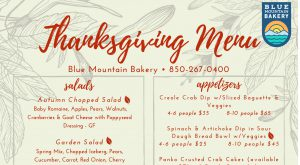 30A Blue Mountain Bakery Thanksgiving Day Menu