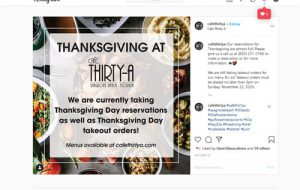 Cafe thirty-A Thanksgiving dinner