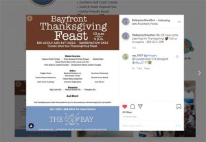 Bayfront Thanksgiving Feast at The Bay restaurant